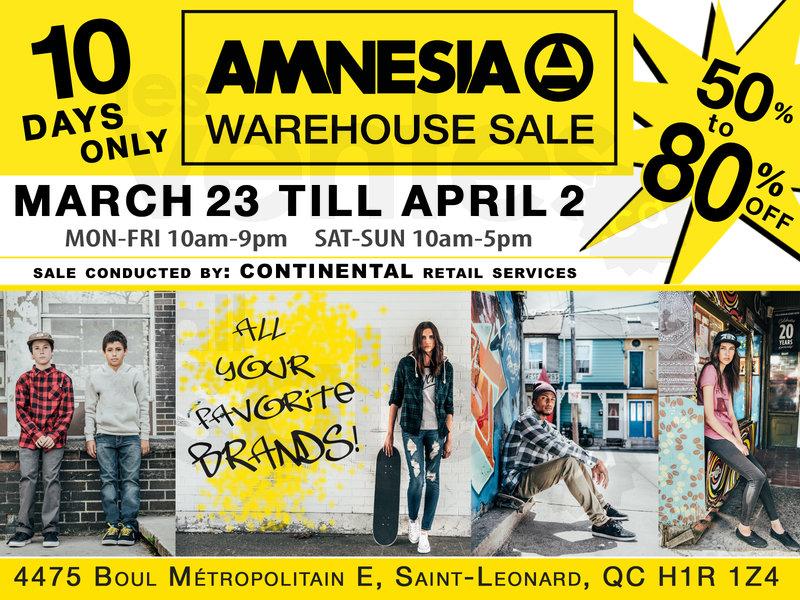 Amnesia Warehouse Sale 50 To 80 Off Allsales Ca