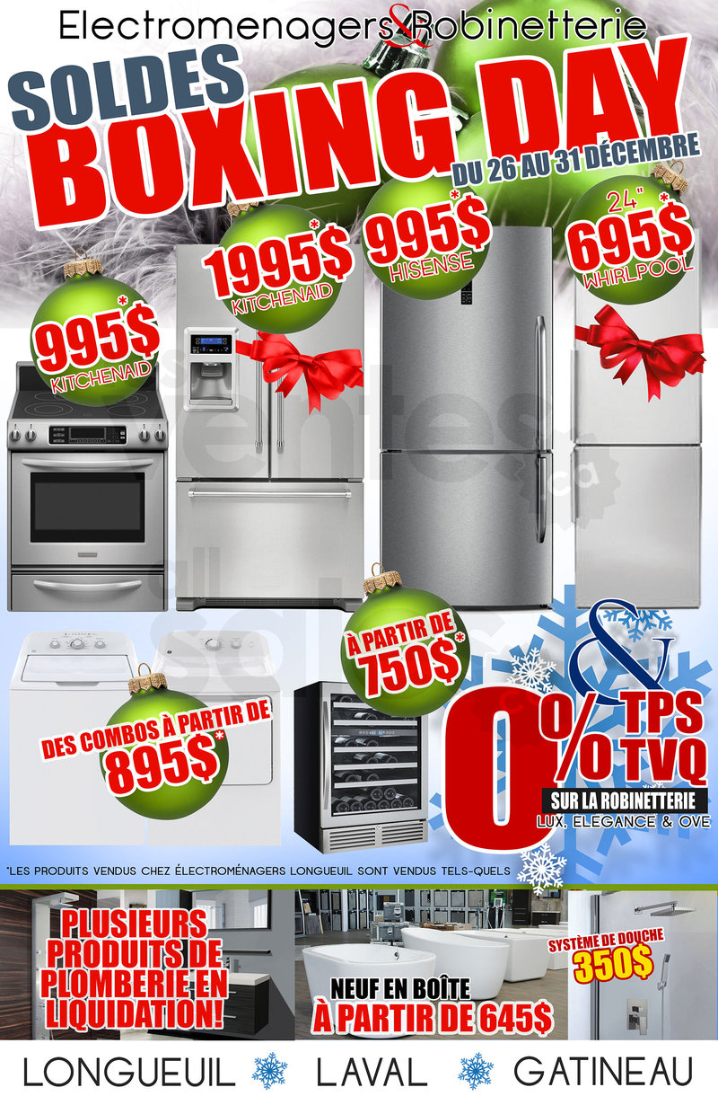 Boxing day appliances and more for Liquidation salle de bain laval