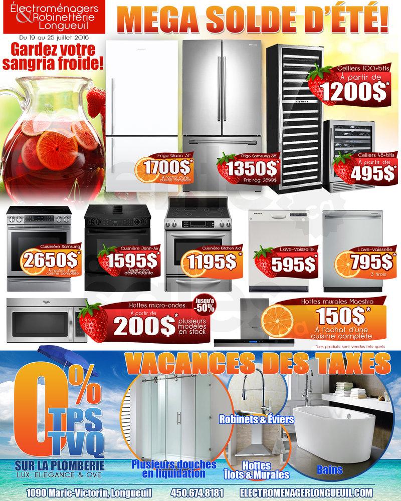 Summer sale home appliances plumbing for Liquidation salle de bain laval