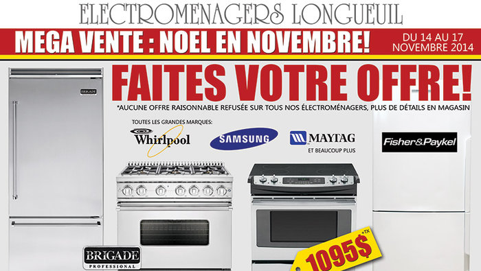 Home appliances mega sale 4 days only for Liquidation electromenager longueuil