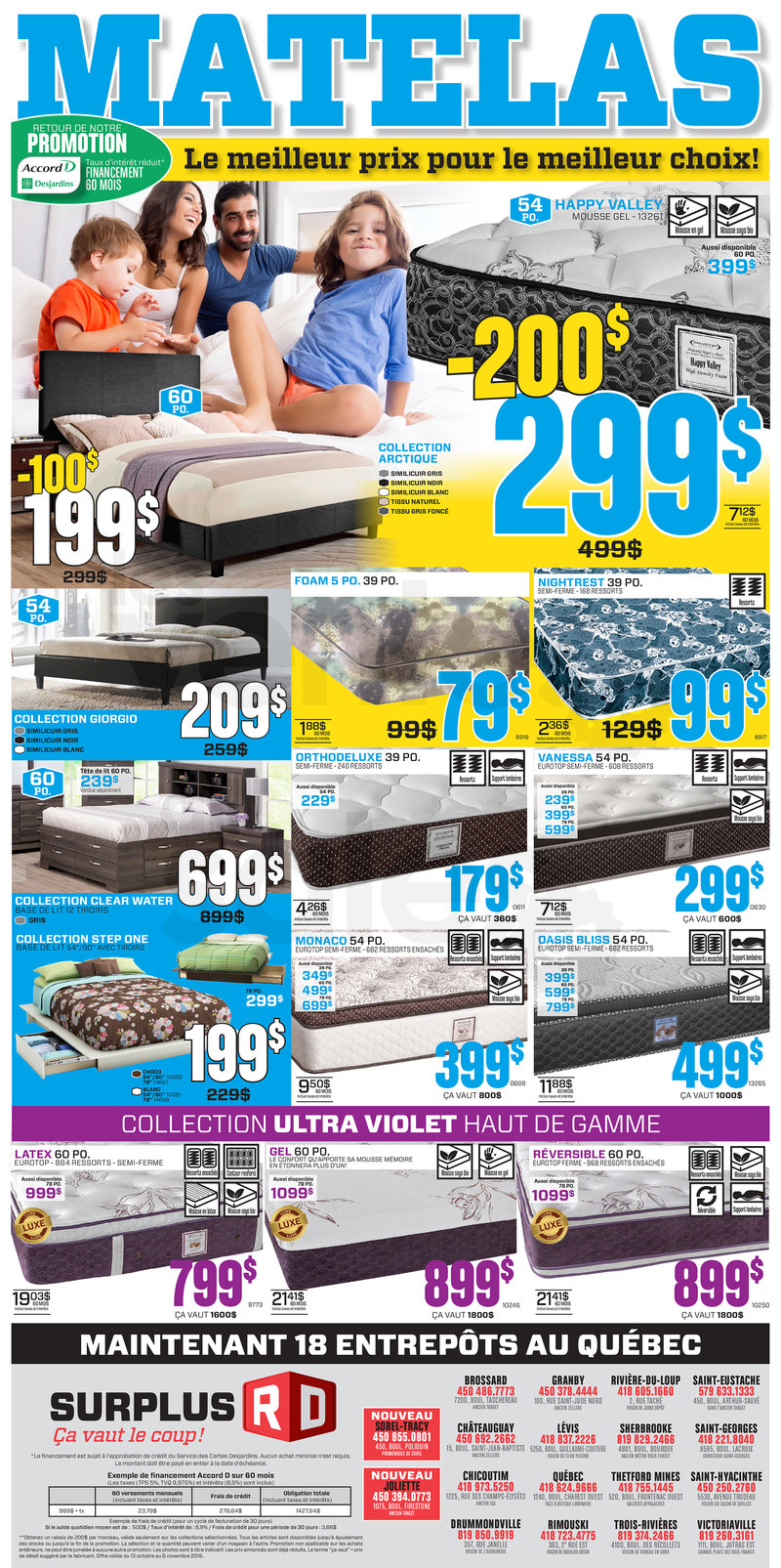 Decor mattress warehouse liquidation for Liquidation meuble chicoutimi