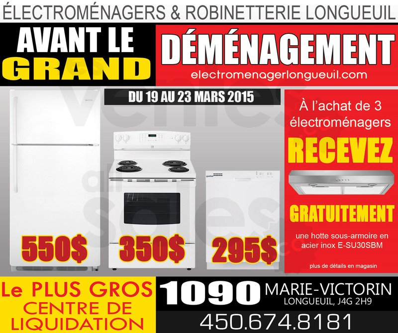 Big home appliance sale for Centre liquidation meuble longueuil